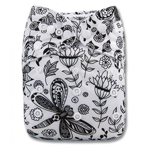 B247 Black White Dragonfly Floral Pocket