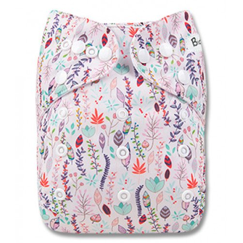 B258 White Pastel Feathers & Flowers Pocket