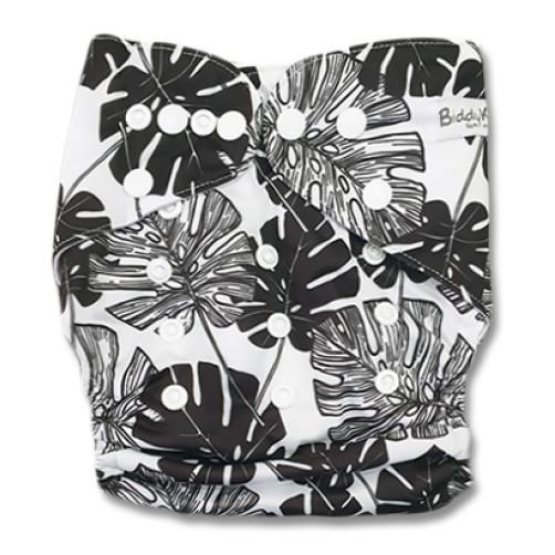 B331 Black White Large Leaves Pocket
