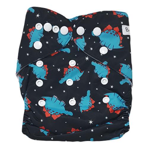 B303 Blue Red Spots Dino Pocket