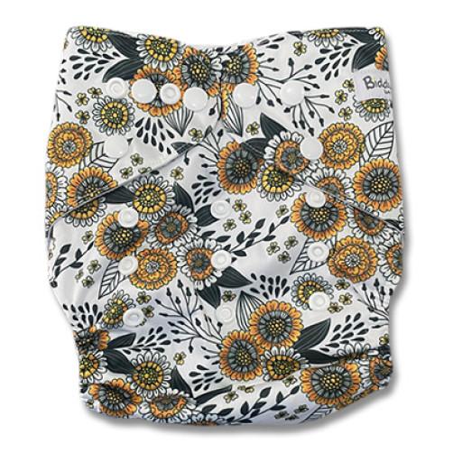B318 Large Orange Black Floral Pocket