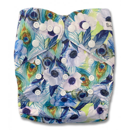 B313 Peacock Feathers & Flowers Pocket