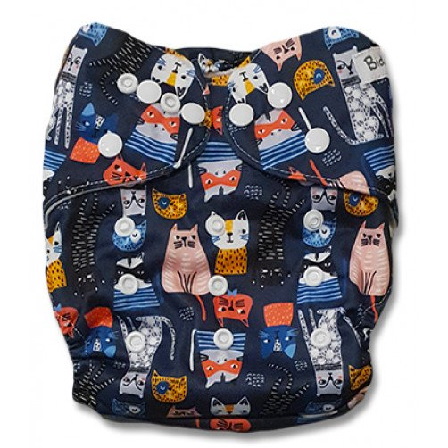 B223 Navy with Multicolor Cats Pocket