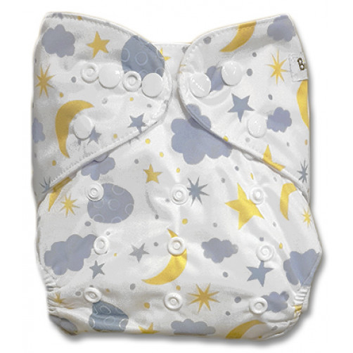 B231 White Grey Clouds Yellow Stars