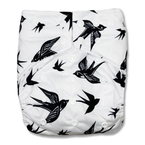 G027 White Black Swallows Sleeve