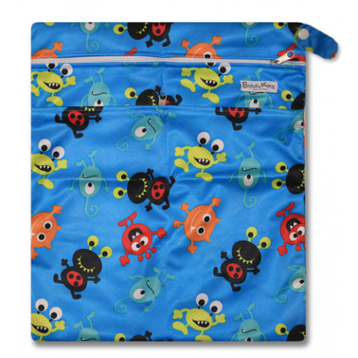 W008 Blue Monsters Smooth Wet Bag