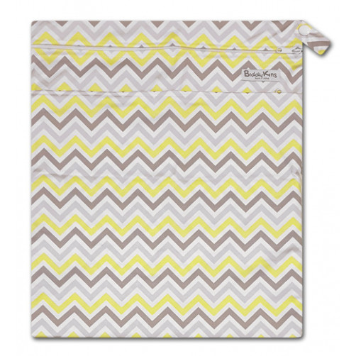 W031 Grey Yellow Chevron Smooth Wet Bag