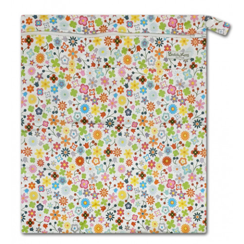 W037 White Multicolor Daisies Wet Bag