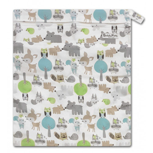 W039 White Blue Green Forest Friends Wet Bag