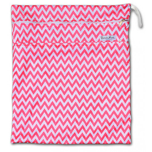 W003 Pink Chevron Smooth Wet Bag