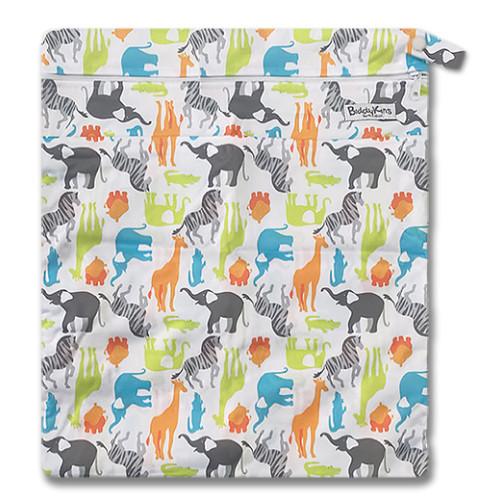 W042 Green Crocs Orange Hippos Wet Bag