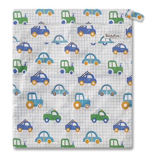 W043 Grid Blue Green Cars Trucks Wet Bag