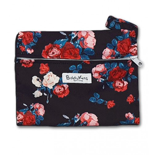 WS023 Dark Red Blue Roses Small Wet Bag