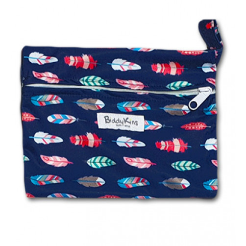 WS027 Navy Sideways Feathers Small Wet Bag
