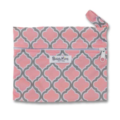 SW004 Pink Grey Trellis Small Wet Bag
