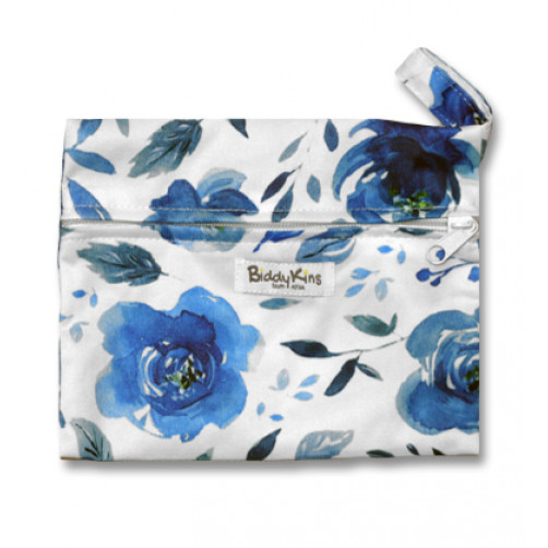 WS013 White with Blue Floral Small Wet Bag