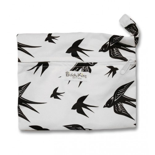 WS014 White with Black Swallows Small Wet Bag