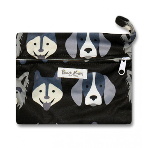 WS016 Grey Puppies Small Wet Bag