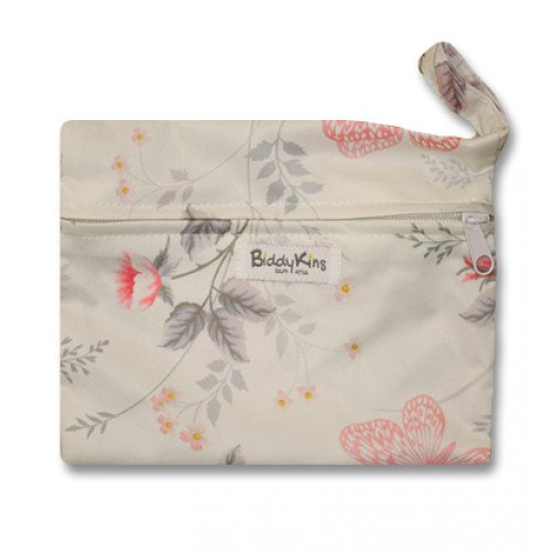 WS017 Cream with Flowers & Butterflies Small Wet Bag