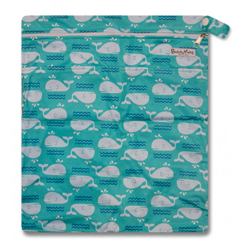 W014 Turquoise Whales Smooth Wet Bag