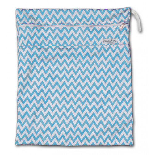 W002 Turquoise Chevron Smooth Wet Bag