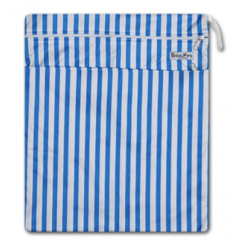 W004 Blue Stripe Smooth Wet Bag