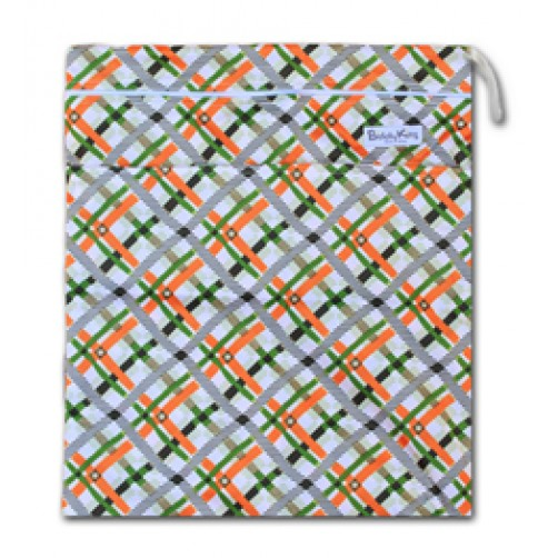 W010 Orange Green Tartan Smooth Wet Bag