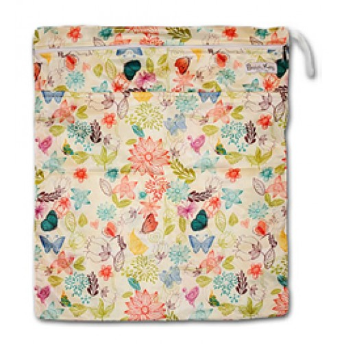 W012 Cream Floral Smooth Wet Bag