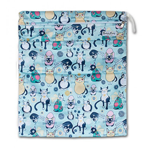 W014 Blue Green Cats Smooth Wet Bag