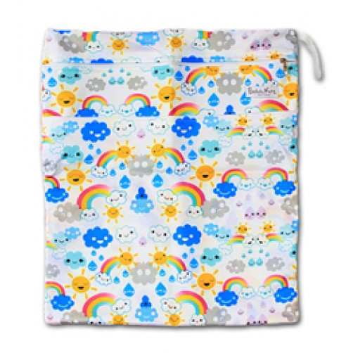 W016 Rainbows Clouds Smooth Wet Bag