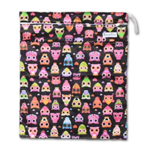 W018 Black Pink Owls Smooth Wet Bag