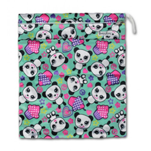 W019 Pink Purple Pandas Smooth Wet Bag