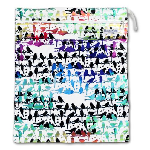 W020 MultiColor Birds Smooth Wet Bag