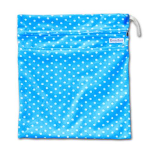 W521 Blue White Dots Minky Wet Bag