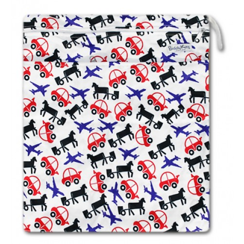 W024 Horses Cars Planes Smooth Wet Bag