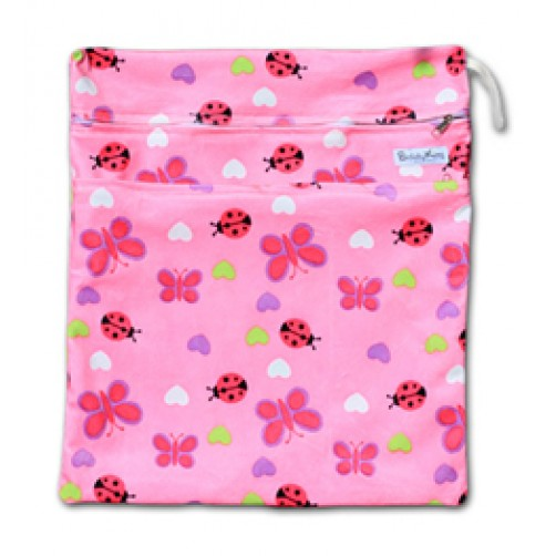 W526 Pink Bugs Minky Wet Bag