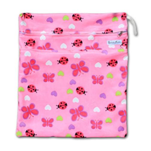 W526 Pink Bugs Minky Wet Bag