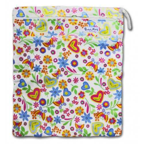 W028 Butterflies Floral Smooth Wet Bag