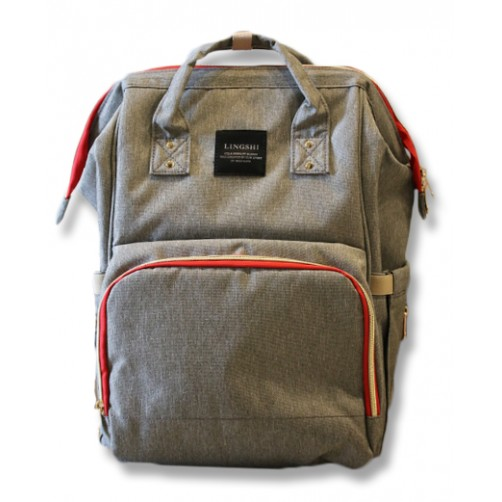 Grey with Red Accents Imported Nappy Backpack