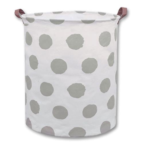 Large Canvas Basket - Grey Circles