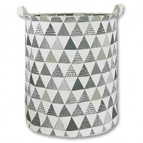 Large Canvas Basket - Grey Triangles