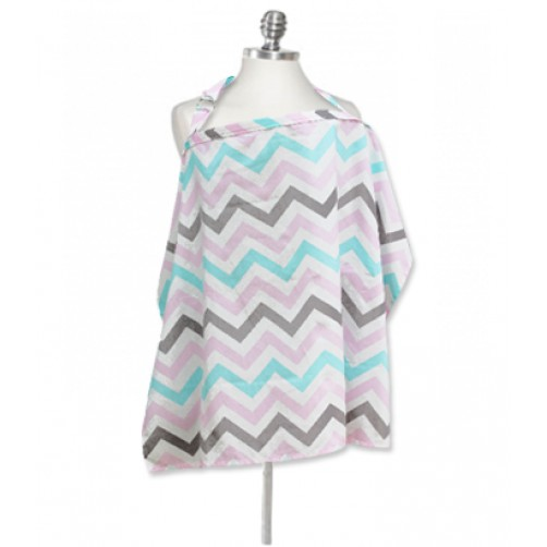 NC000 Pink Teal Grey Chevron Nursing Cover