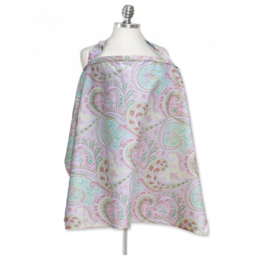 NC002 Pink Green Paisley Nursing Cover