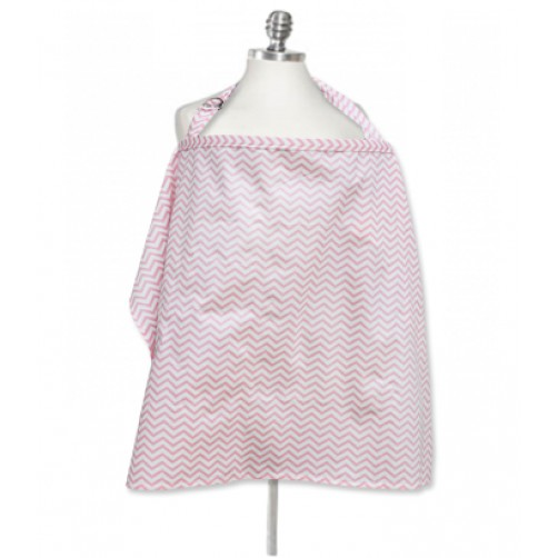 NC004 Pink White Chevron Nursing Cover