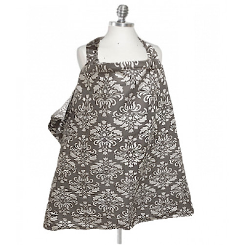 NC008 Grey White Demask Nursing Cover