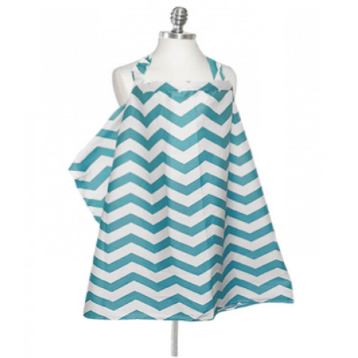 NC010  Broad Aqua Chevron Nursing Cover
