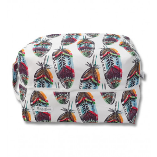 PB061 Large Multicolor Feathers Pod Bag