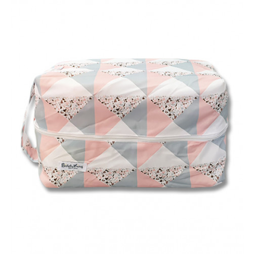 PB063 Peach Grey Triangles Pod Bag