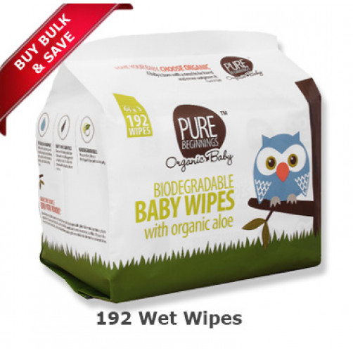 Pure Beginnings Baby Wet Wipes Aloe Bulk (192pack)