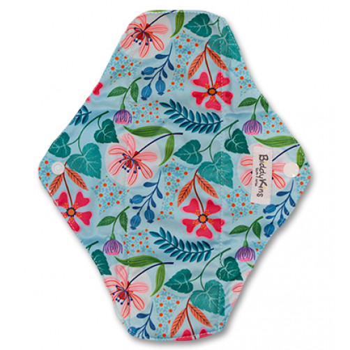 Medium Mama Cloth Aqua Leaves & Flowers